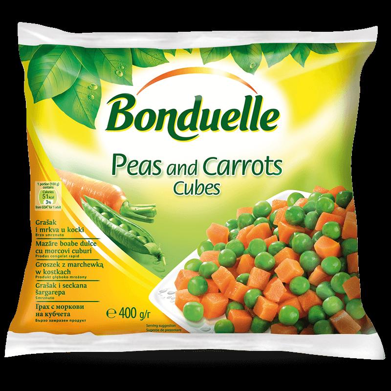 Грах с моркови на кубчета