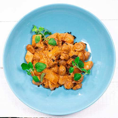 Яхния с гъби, картофи и къри