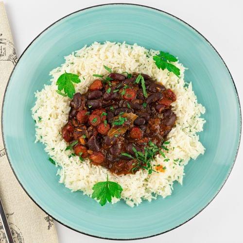 Ориз с червен боб в сос