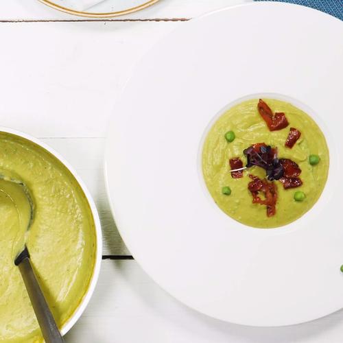 Крем супа от грах с крокети от прошуто