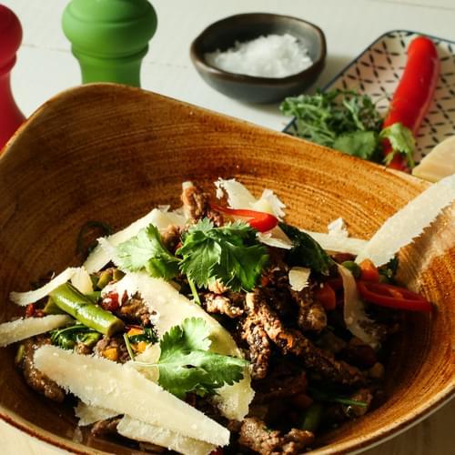 Narezana govedina s meksičim povrćem