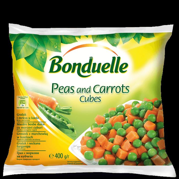 Mazăre verde boabe dulce cu morcovi cuburi