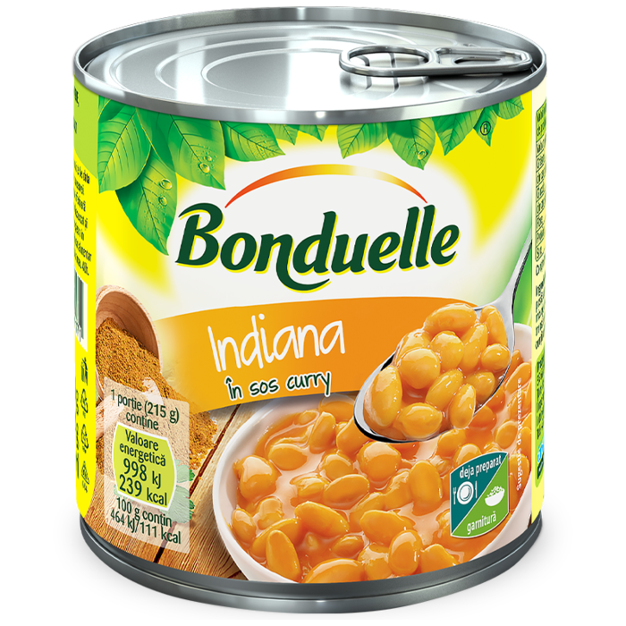 Indiana, fasole albă boabe, în sos curry