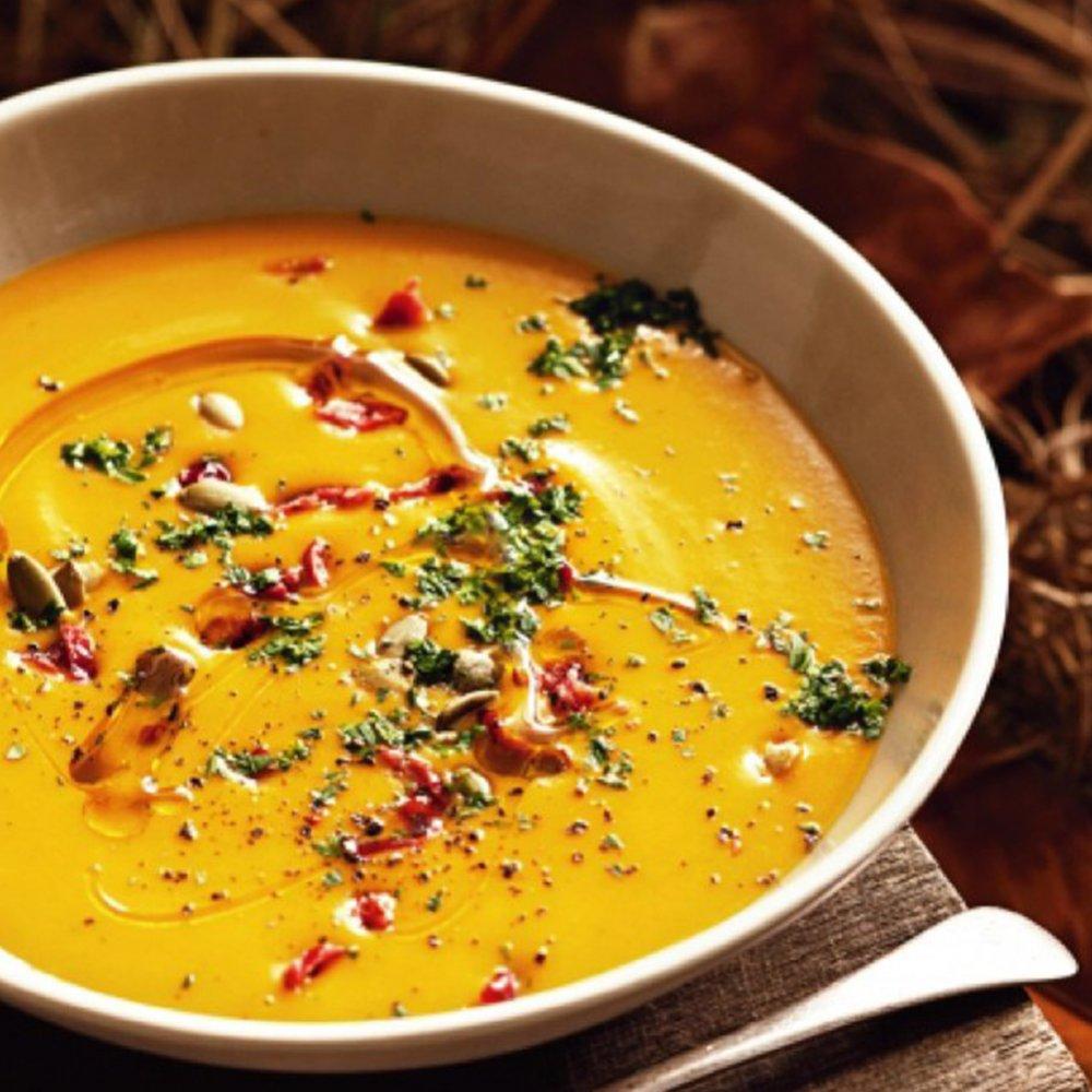 Supă cremă de dovleac cu morcovi și fistic