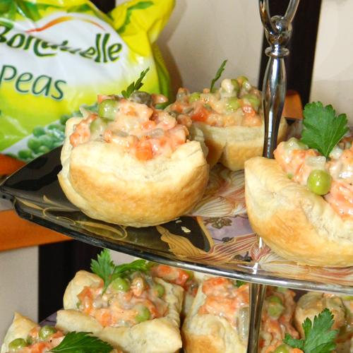 Coșulețe cu salată a la russe