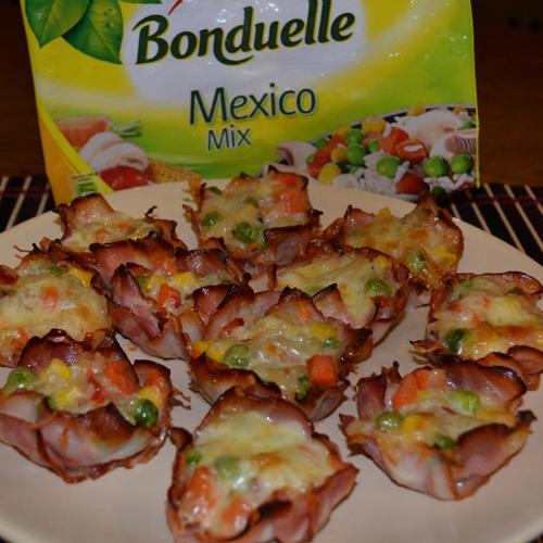 Coșulețe din bacon umplute cu legume