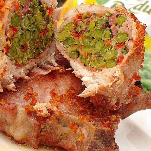 Cotlete de porc umplute cu mazăre