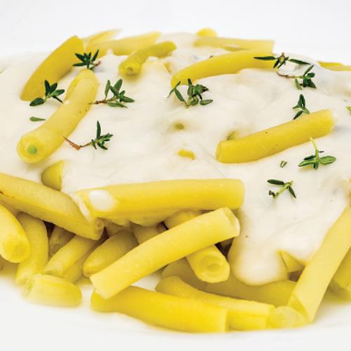 Fasole galbenă cu sos de gorgonzola