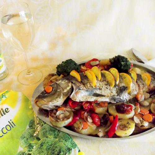 Pește crap cu legume și ciuperci