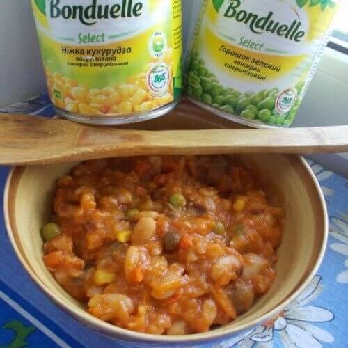 """Вкуснейшая фасоль с овощами """"Бондюэль"""""""