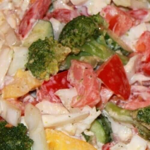 """Салат с брокколи и семгой """"Полезные овощи"""""""