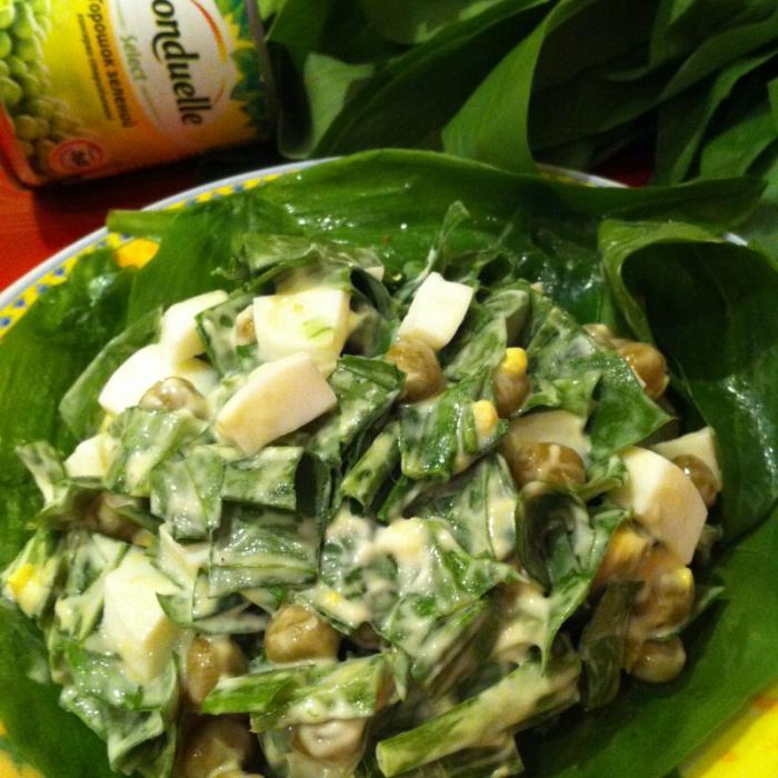 Весенний легкий салат с черемшой