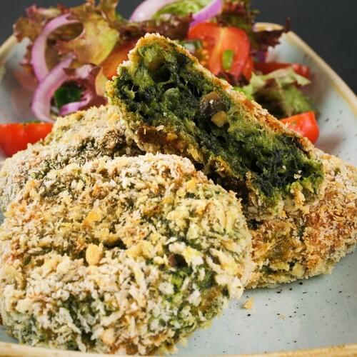 Овощные котлеты со шпинатом и грибами