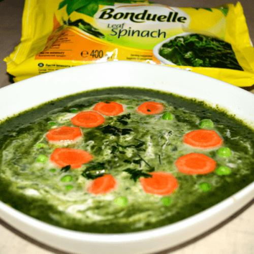Суп-пюре зі шпинату і горошку