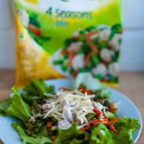 Теплий салат с куркою та латуком